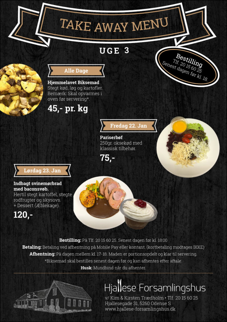 Take Away Menu - Uge 3
